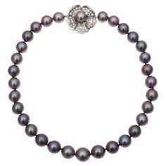 Estate Betteridge Collection Black Cultured Pearl Necklace with Diamond Clasp $19,000 .. Apr 2013