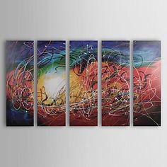 met de hand geschilderd abstract olieverfschilderij met gestrekte frame - set van 5 – EUR € 128.69