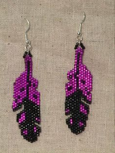 Beaded Native American Earring Patterns | Earrings featuring pink and black feathers. Glass Delica beads. Silver ...