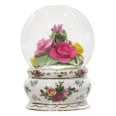 Roses Sealed in Water Globe | Royal Albert Old Country Rose Musical Water Globe