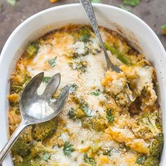 A cheesy, delicious quinoa casserole packed with broccoli, butternut squash and spinach is the perfect easy fall dish.