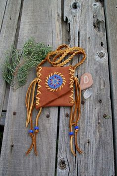 Beaded amulet bag  Beaded Necklace bag  Native by thunderrose