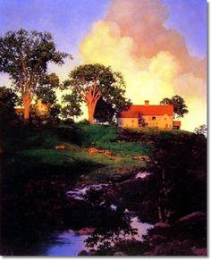 Maxfield Parrish American Illustration - Hunt Farm Painting