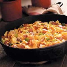 Country Style Scrambled Eggs - with potatoes & green pepper (sub. pork sausage for bacon)