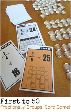 First to 50. Free printable card game for kids to practice solving fractions of groups problems. Three levels of difficulty.