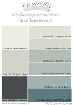 Favorite Paint Color Trends {The New Transitionals} 2015 favorite paint color trends. The new transitional colors. The Creativity favorite paint color trends. The new transitional colors. The Creativity Exchange Interior Paint Colors, Paint Colors For Home, Paint Colours, Bher Paint Colors, Blue Grey Paint Color, Wall Colors, House Colors, Palette Deco, Trending Paint Colors
