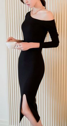 Women's Party/Cocktail Sexy Bodycon Dress,Solid Off Shoulder Midi Long Sleeve Red / Black Others Spring / Fall Sexy Dresses, Cute Dresses, Beautiful Dresses, Short Dresses, White Fashion, Love Fashion, Fashion Outfits, Womens Fashion, Fashion Clothes
