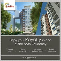GR Sunshine is ongoing Project In Sarjapur Road, Which is close Approximate to WIPRO Corporate Office. Which Come with 1,2,3 BHK Flats. To Know more (Or) Booking: Visit: http://grprojects.in/apartments/sunshine/ (Or) Call: +91 8880681616