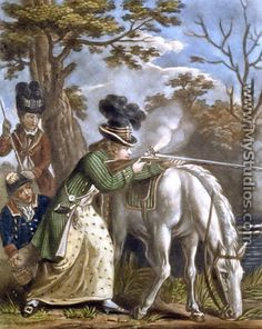 The Ladies Shooting Poney  1780 - John Collet-Contrary to popular belief there were intrepid women who did not only follow the hunt but hunted themselves. It wasn't common but it was done sometimes.