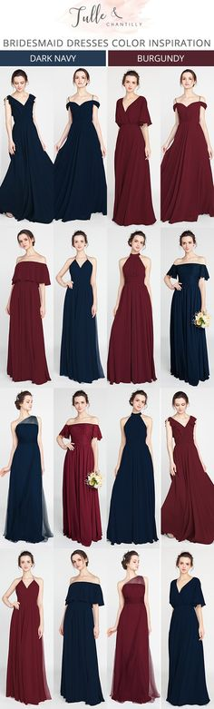 navy blue and burgundy bridesmaid dresses