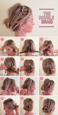 loose double braid bun, Pinning it to teach myself how to do that for later!!!