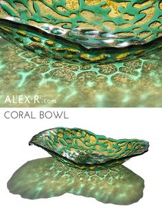 Coral Vessel in Green and Yellow. Fused glass bowl inspired by deep sea corals. #colour #light www.alex-r.com