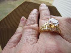 Magnificent Stellar Goldplated Engagement Ring by 1900sBride