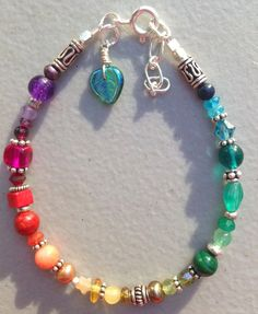Genuine Gemstone and Sterling Silver Chakra Rainbow Bracelet Hand-made in Alaska