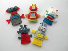 Felt robot finger puppets - set of Robot Party Favor, Robot Birthday Party Decoration, Baby Shower Decor by Rainbowsmileshop on Etsy (null) Felt Decorations, Birthday Party Decorations, Baby Shower Decorations, Party Favors, Felt Finger Puppets, Hand Puppets, Felt Puppets, Legos, Zoo Phonics