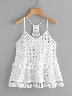 White Tassel Trim Eyelet Embroidered Racerback Cami Top Boho Spaghetti Strap New Casual Summer Outfits, Fall Outfits, Cute Outfits, Cami Tops, Mode Top, Blouse Models, Western Outfits, Teen Fashion Outfits, Ladies Dress Design