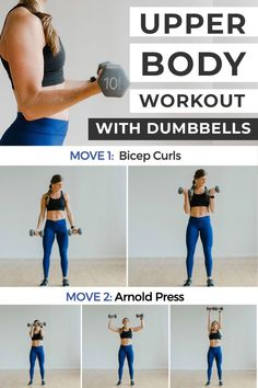 This UPPER BODY WORKOUT FOR WOMEN sculpts and strengthens the arms and upper back from all angles! We're hitting the bicep, tricep, and shoulders. You can follow along with the video or work at your own pace. All you need is a set of dumbbells! #homeworkout #dumbbells #arms #armworkout Gym Workouts Women, Lifting Workouts, Workouts For Teens, At Home Workouts, Arm Workouts, Summer Workouts, Weight Workouts, Workout Women, Upper Body Dumbbell Workout