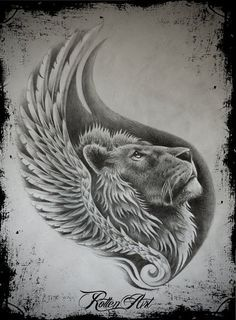 Beautiful Lion Tattoo Drawing