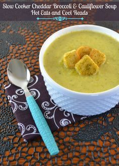 Hot Eats and Cool Reads: Slow Cooker Cheddar, Broccoli and Cauliflower Soup Recipe with Green Giant Steamers! Crock Pot Soup, Crock Pot Slow Cooker, Crock Pot Cooking, Cauliflower Soup Recipes, Broccoli Cauliflower, Crockpot Recipes, Cooking Recipes, Light Soups, Soup And Sandwich