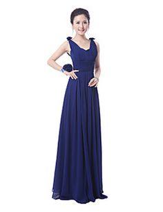 Floor-length Bridesmaid Dress - Ruby / Royal Blue Sheath/Column Straps
