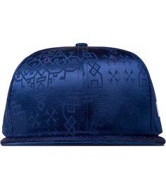 Navy Silk Snapback Cap  *fabric