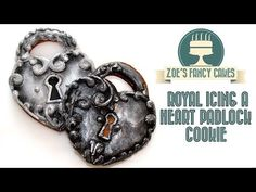 Royal icing a heart padlock cookie How To Tutorial Zoes Fancy Cakes - YouTube