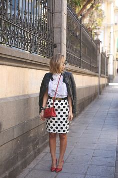 Polka Dot pencil skirt // leather jacket // red pumps // spring outfit