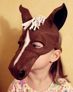 Horse Mask PDF Pattern by oxeyedaisey on Etsy Más Donkey Mask, Donkey Costume, Horse Costumes, Theatre Costumes, Dress Up Costumes, Animal Costumes, Diy Costumes, Halloween Costumes, Horse Costume For Kids