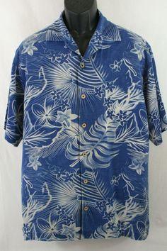 c0579edaf78d Tommy Bahama Hawaiian Men s Shirt 100% Silk Floral Short Sleeve Casual Size  L  TommyBahama