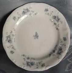 Blue Garland by Johann Haviland Bavarian Bread Plate, White, Blue Flowers #JohannHaviland