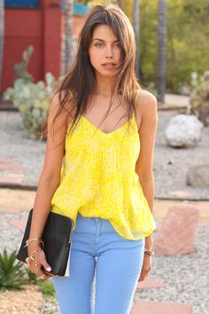 Summer colored denim outfit inspiration via vivaluxury.blogspot.com
