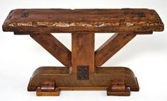 This massive barn beam sofa table is handcrafted from reclaimed wood aged timbers. The barn wood has natural blemishes from 100 years of use and weathering Log Cabin Furniture, Rustic Furniture, Natural Wood Furniture, Wood Sofa Table, Sofa Tables, Coffee Tables, Rustic Bench, Sofa Frame, Repurposed Wood