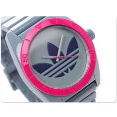 Amazing Grey & Pink Santiago down to $59.77 --> Adidas Watch SANTIAGO Gray Silicone Pink Bezel with Blue LOGO Dial ADH2871 #adidas #Sport