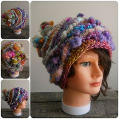 This hat is made with no pattern. no rules. free form. one of a kind. fuzzy lovins.It will fit a small to medium adult woman's head it is very flexible