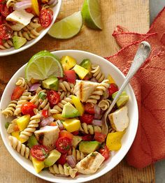 Flavorful mango, avocado and tomato make this pasta salad a delicious fresh side dish. More low-cal chicken recipes: http://www.bhg.com/recipes/healthy/dinner/healthy-chicken-recipes/?socsrc=bhgpin030213cilantropasta=6