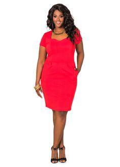 ed377e4191f Sweetheart Neck Ponte Dress - Ashley Stewart Plus Size Womens Clothing