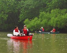 Canoeing on Big Darby Creek at Battelle Darby Creek Metro Park - by Kim Leach