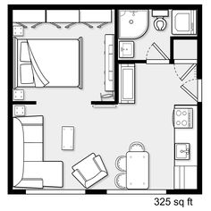 apartment floor plans Relatively apartment for a couple Studio Floor Plans, Small House Floor Plans, Small Tiny House, Tiny House Living, Tiny House Design, The Plan, How To Plan, Studio Apartment Layout, Apartment Design