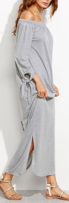 One way monochrome fashion-Heather Grey Off The Shoulder Tie Sleeve Slit Maxi Dress. Shein design.