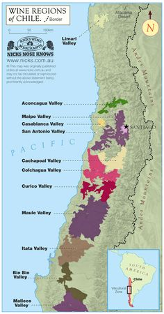 #map of #Chile #wine regions Great wines | Great Value |   My personal favourite: Montes Cab Sauv: http://www.bcliquorstores.com/product/322586
