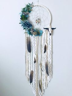 Succulent Dreamcatcher, Boho Wall Decor, Floral Dream catcher, Dream catcher Wall Hanging, Nursery W Boho Chic Interior, Bohemian Bedroom Design, Boho Chic Bedroom, Interior Design, Dream Catcher Craft, Dream Catcher Boho, Dream Catchers, Large Dream Catcher, Feather Dream Catcher