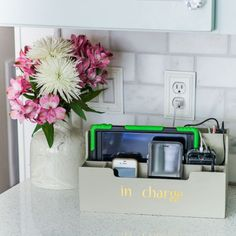 Here's what a typical desk organizer holds. Functional? Maybe, but by thinking outside the box I came up with an even more useful option for our home. Like, a Charging Station! Hide Cable Box, Hide Cables, Desk Organization Diy, Diy Desk, Organizing, Charging Station Organizer, Charging Stations, Stil Inspiration, Pallet Tv Stands