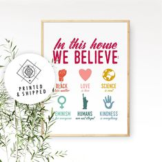 Protest Poster Feminist Poster Anti Hate Poster LGBTQ Poster In This House We Believe Art Print Black Lives Matter Print Feminist Gift Protest Posters, Political Posters, Protest Signs, Wall Art Prints, Poster Prints, Pixel Design, In This House We, Cute Poster, Feminist Art