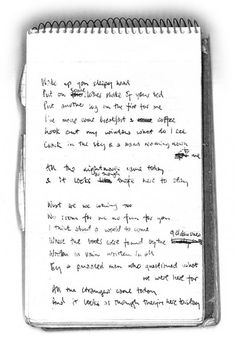 David Bowie handwritten lyrics to Oh! You Pretty Things.