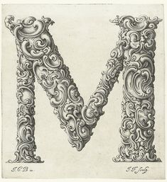 A series of stunning prints – titled Libellus Novus Elementorum Latinorum – designed by the Polish goldsmith Jan Christian Bierpfaff and engraved by fellow-countryman Jeremias Falck Calligraphy Letters, Typography Letters, Image Theme, Drop Cap, Illuminated Letters, Letter Art, Letters And Numbers, Art Plastique, Lettering Design