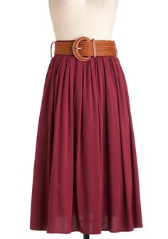 Road Trip Retreat Skirt - Long, Red, Solid, Belted, A-line, Work, Casual