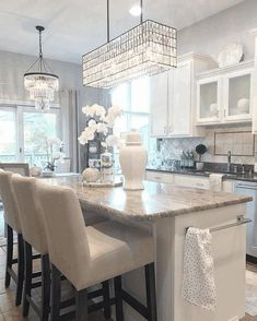 New York Discover Adeline Crystal Rectangular Chandelier Home Decor Kitchen, Rectangular Chandelier, Cabinet Decor, Glam Kitchen, Kitchen Chandelier, Dining Room Decor, Kitchen Layout, Modern Farmhouse Kitchens, White Kitchen Design