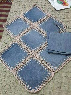 Denim Squares Crochet Quilt