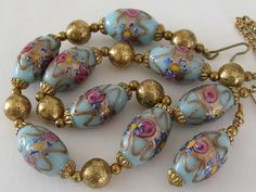 VTG AQUA VENETIAN WEDDING CAKE ART GLASS BEAD NECKLACE & EARRINGS SET WITH ROSES #VenetianMurano