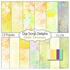 Gold Dreams Digital Papers  Textured Painted by DigiScrapDelights, $3.00